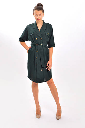 Платье Wear me двубортное на поясе Темно-зеленый