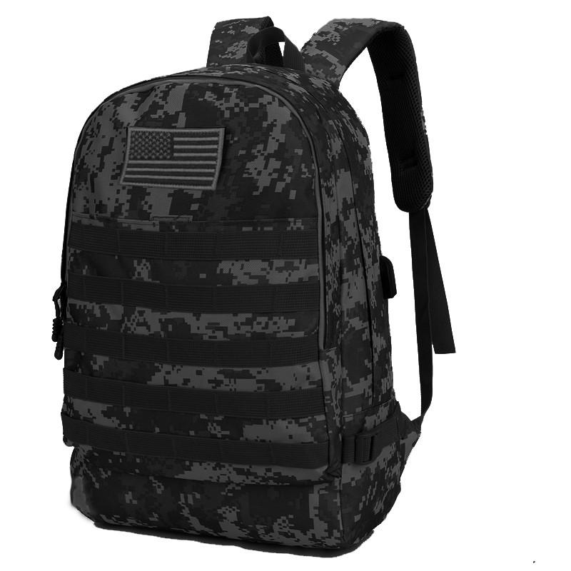 Рюкзак городской тактический темно-серый камуфляж с шевроном Американский флаг