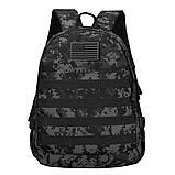Рюкзак городской тактический темно-серый камуфляж с шевроном Американский флаг, фото 2