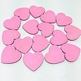 Набор из 10 деревянных сердечек для декора и скрапбукига (розовый), фото 3