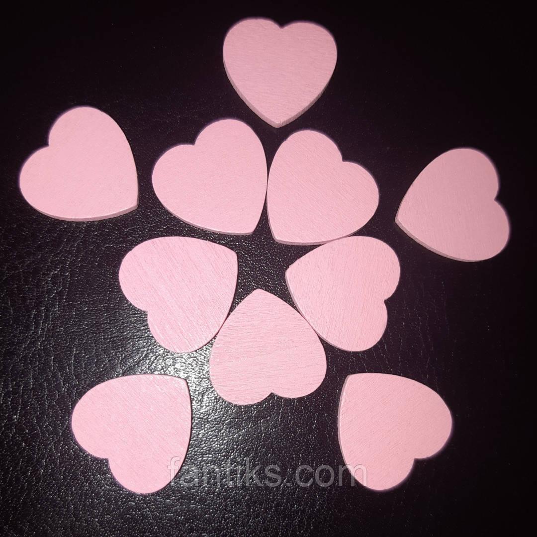 Набор из 10 деревянных сердечек для декора и скрапбукига (розовый)