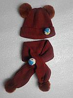 Шапка шарф детский комплект осень-зима коричневый с пингвинами