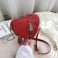 Сумка женская модная красная в виде сердца