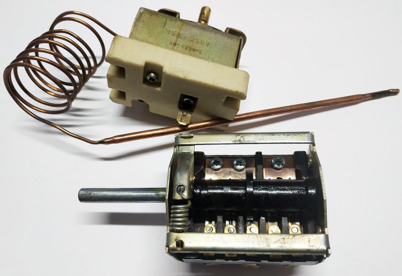 Комплект керамический переключатель режимов духовки с терморегулятором на электроплиту Электра 1001 (РОССИЯ)