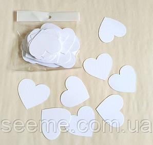 Комплект сердечек, 50 шт, размер 47*45 мм, цвет белый
