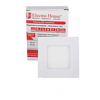 ElectroHouse LED панель квадратная 3вт 4100К 85х85мм 270Lm.