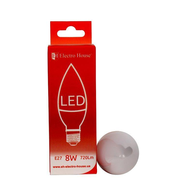 """ElectroHouse LED лампа """"свеча"""" E27 8W C37 4100K 720Lm"""