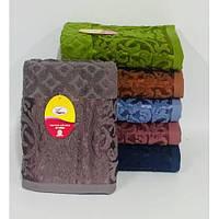Банные полотенца для ванны, комплект полотенец для дома, полотенце 140х70 см махра. ТЕСНЕНКА.