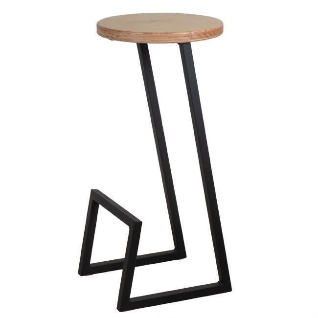 Круглый полубарный стул в стиле LOFT из металла и натурального дерева