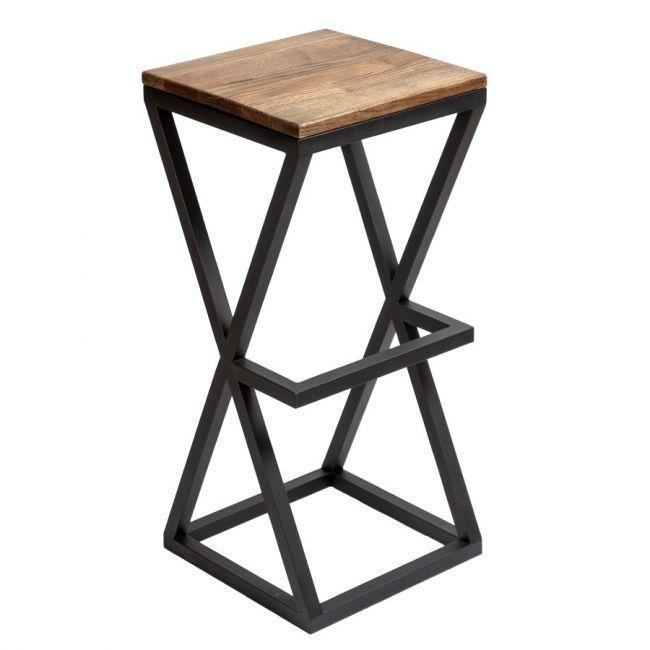 Квадратные стулья барные в стиле LOFT из черного металла и натурального дерева
