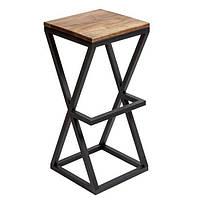 Квадратные стулья барные в стиле LOFT из черного металла и натурального дерева, фото 1