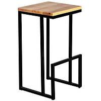 Барные стулья лофт из черного металла и натурального дерева