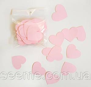 Комплект сердечек, 50 шт, размер 47*45 мм, цвет розовый