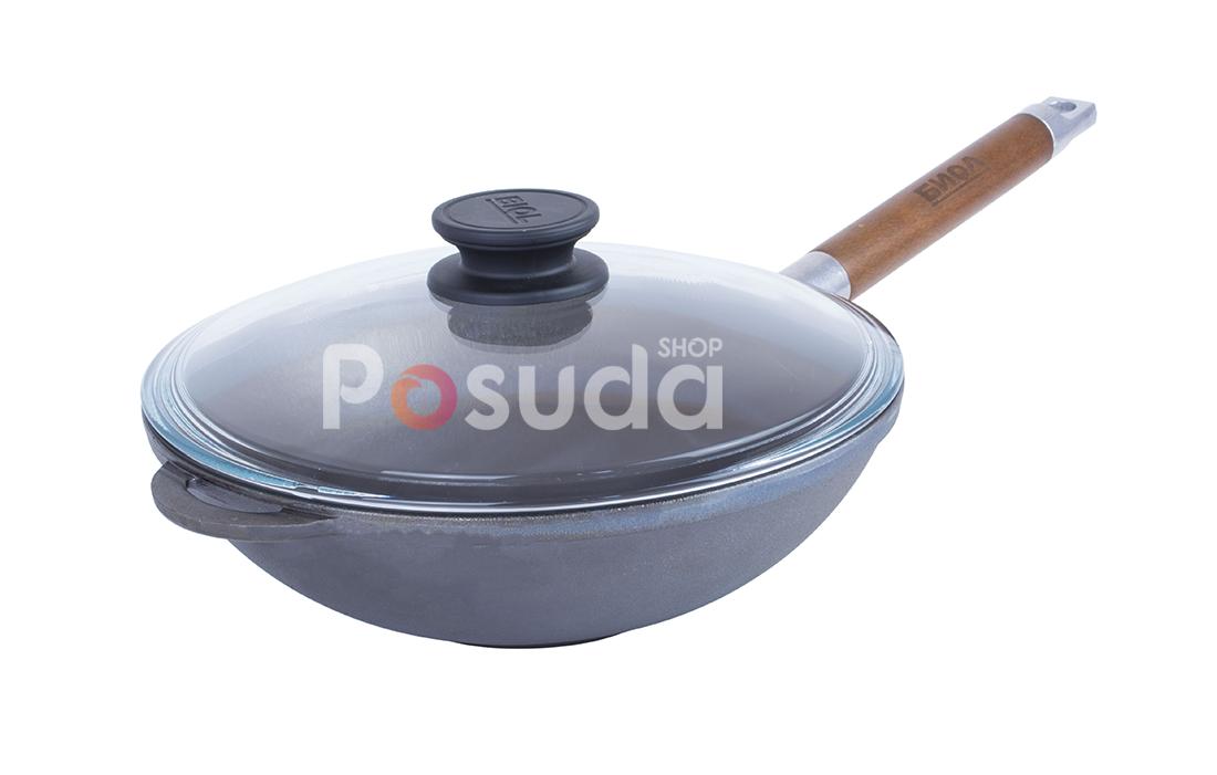 Сковорода чугунная WOK с деревянной ручкой и стеклянной крышкой Биол 1524с