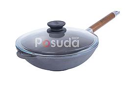 Сковорода чавунна WOK з дерев'яною ручкою і скляною кришкою Біол 1524с