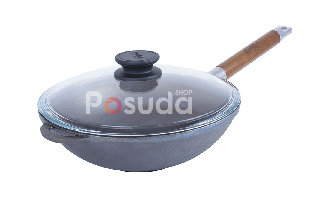 Сковорода чугунная WOK с деревянной ручкой и стеклянной крышкой Биол 1526с