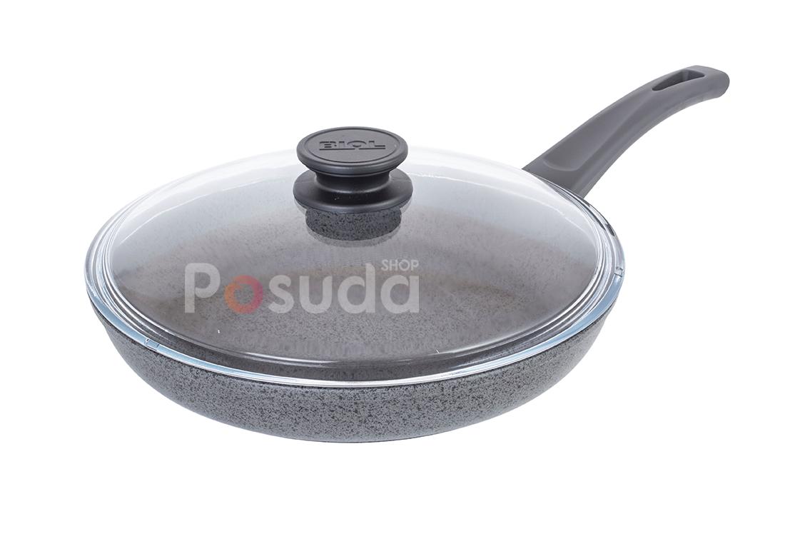 Сковорода Биол антипригарна з скляною кришкою Оптима-Граніт 26 см 26048ПС