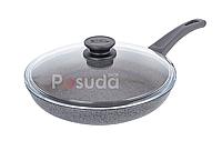 Сковорода Биол антипригарна з скляною кришкою Оптима-Граніт 26 см 26048ПС, фото 1