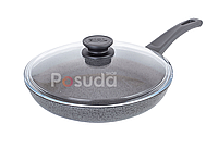 Сковорода Биол антипригарна з скляною кришкою Оптима-Граніт 24 см 24048ПС, фото 1