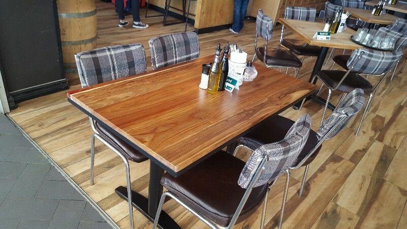 Прямокутні стільниці для кафе барів HoReCa з масиву дерева