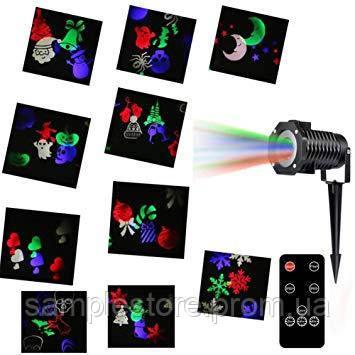Новогодний лазерный проектор с пультом 12 слайдов led change card garden projector