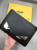 Портмоне Фенди |Черная кожаная папка Фенди | Папка Фенди с глазами | Барсетка Фенди под документы