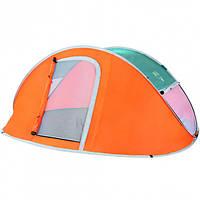 Палатка туристическая 235 х 190 х 100 см 3-местная антимоскитная сетка; сумка Оранжевый (68005)