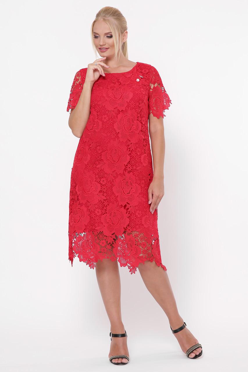 Нарядное красное  женское платье из ирландского кружева 52-54