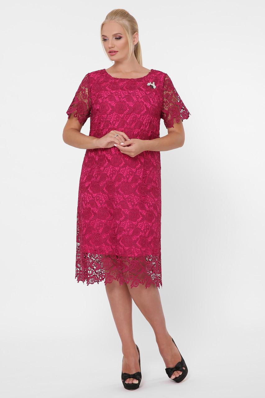 Нарядное женское платье из кружева  марсала с 52 по 58 размер
