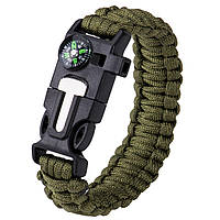 Браслет выживания Survial Paracord тактический Army Green (0004ag)