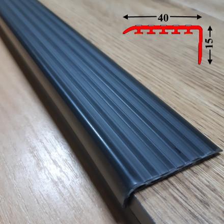 Накладка антискользящая прорезиненная на самоклеющейся основе 15х40, длина 1,35 м Чёрный