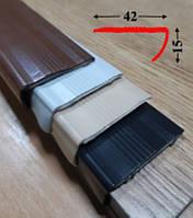 Угловая антискользящая резиновая накладка 15х42 на самоклеющейся основе