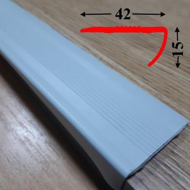 Угловая антискользящая резиновая накладка 15х42 на самоклеющейся основе 0,9м Светло-серый