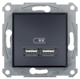 Розетка USB двойная антрацит 2.1А Asfora  EPH2700271