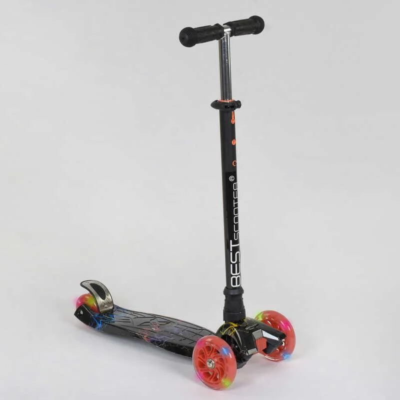 """Самокат А 24659/779-1308 MAXI """"Best Scooter"""" пластмассовый, 4 колеса PU,свет,трубка руля алюминиевая, d=12 см"""