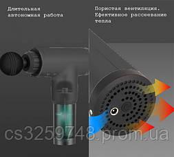 Портативний ручний масажер для тіла Fascial Gun KH-320 Original М'язовий Black (HH 500-9), фото 2