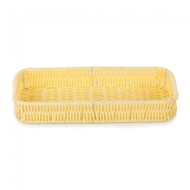 Корзина плетеная для столовых приборов прямоугольная  27х10х4см (молочная)
