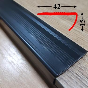 Угловая антискользящая резиновая накладка 15х42 на самоклеющейся основе 0,9 м, Чёрный