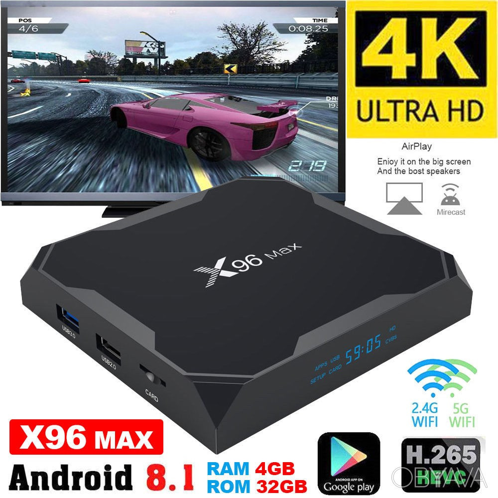 Smart TV приставка - 4K, X96 MAX, 4/64 Gb, Android 8.1 + подарок