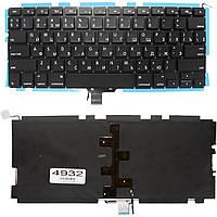 """Клавиатура для ноутбука Apple MacBook Pro 13"""" A1278 черная без рамки Прямой Enter подсветка"""