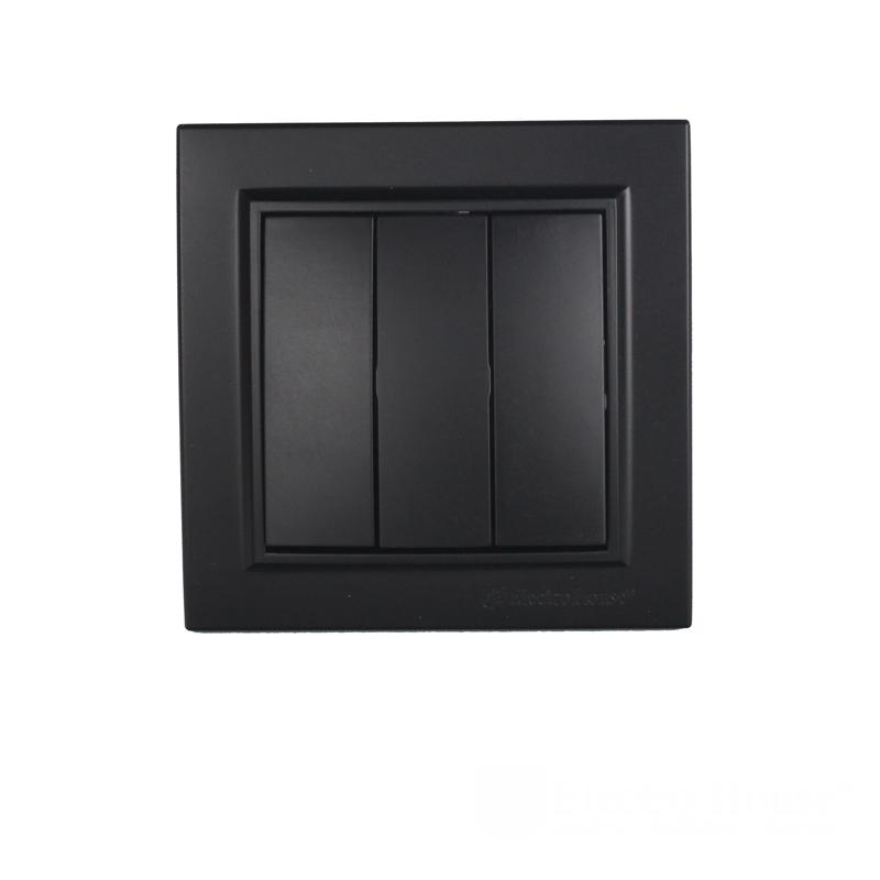 ElectroHouse Выключатель тройной графит Enzo ЕН-2185-PG