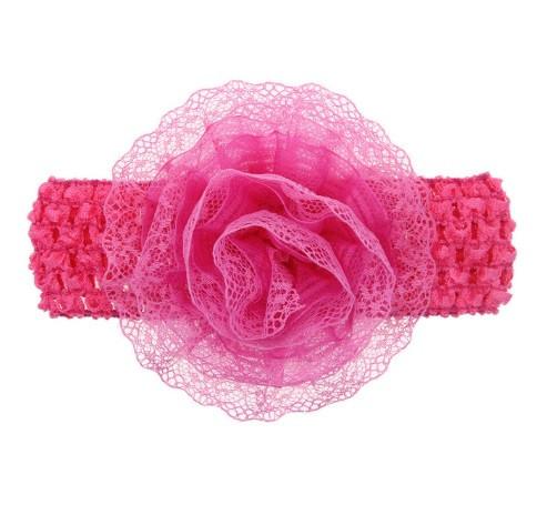 Детская малиновая повязка с цветком -  окружность 30-50см, размер цветка 9см