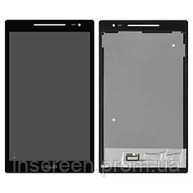 Экран (дисплей) Asus ZenPad Z380C, Z380KL с тачскрином (сенсором) черный, с зеленым шлейфом