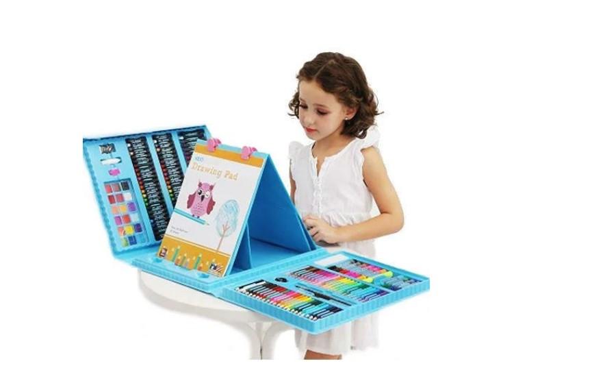 Детский художественный набор для рисования. Мольберт, фломастеры, карандаши. 176 предметов Розовый Детский