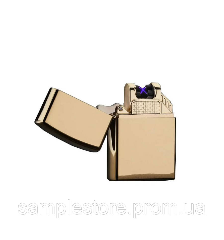 Электроимпульсная Usb зажигалка две дуги Gold Glossy