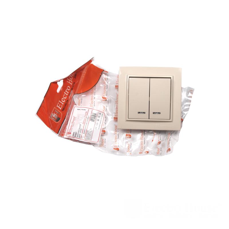 ElectroHouse Выключатель латте двойной с подсветкой Enzo EH-2184