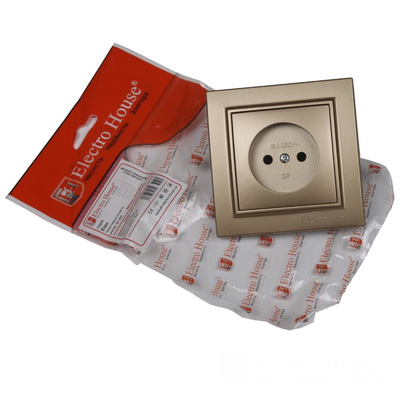 ElectroHouse Розетка без заземления роскошно золотой Enzo EH-2108-LG