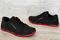 Кросівки чоловічі чорні на червоній підошві демісезонні (КЛС-27чр)