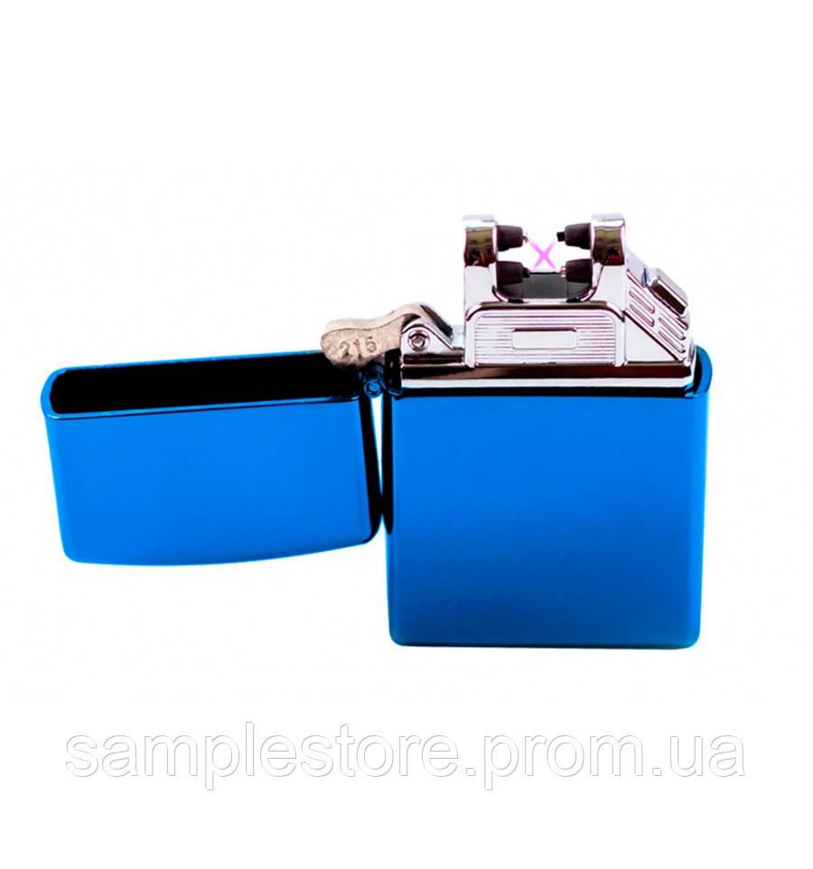 Электроимпульсная Usb зажигалка две дуги Blue Glossy