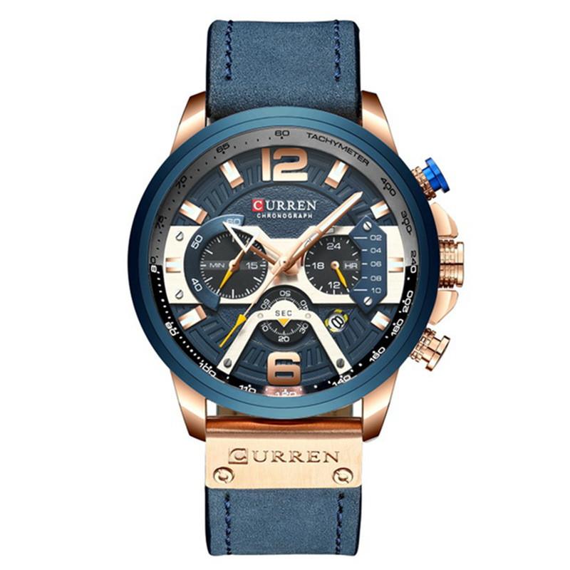 Мужские Часы Наручные Кварцевые Классические Curren (8329) 3 АТМ Синие с Синим Циферблатом